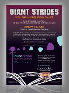 Giant Strides, Huddersfield Giants and Laura Crane Youth Cancer Trust Leaflet Design